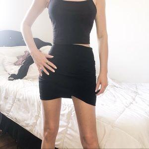 Solemio black mini bandage wrap skirt small